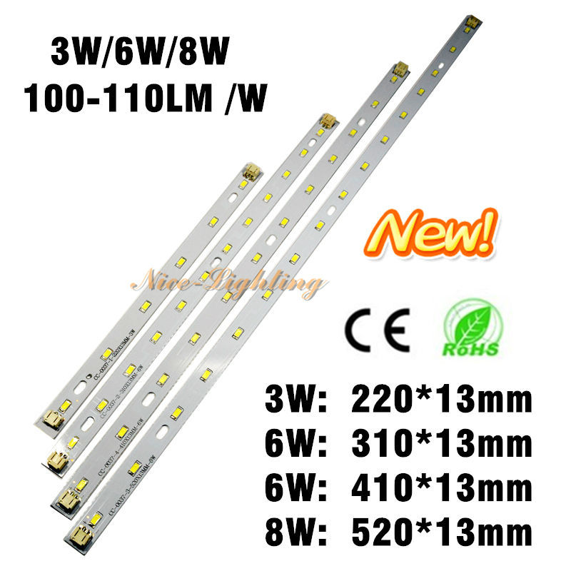 5730SMD Epistar Chip LED Bar Light, 3W 6W 8W LED Strip 100-110LM/W Super Brightness With Cable Connector