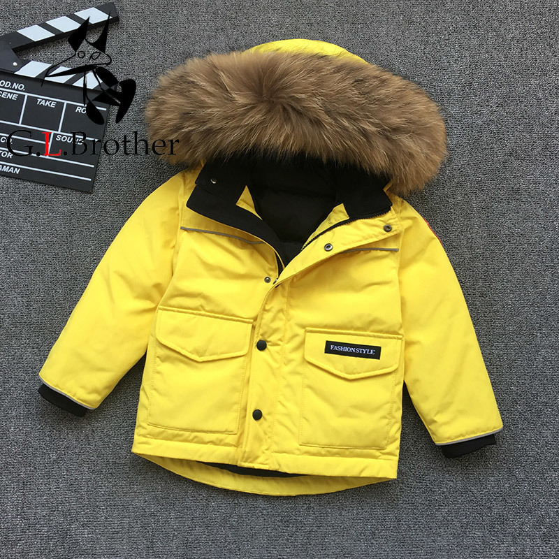 cbcecddb6 Russian Winter Kids Down Coats Big Real Raccoon Fur Thick Warm Boys ...