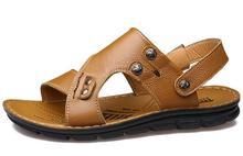 2017 летний новый дизайн мужская кожа повседневная сандалии мягкий дышащий пляжные сандалии мужской обуви досуг обувь желто-коричневый черный