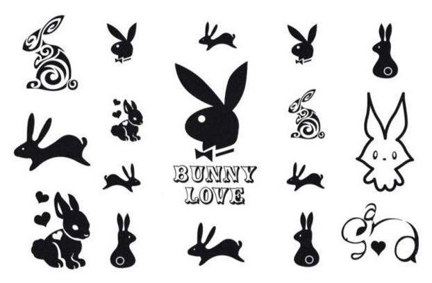 Women Men Harajuku Temporary Tattoo Stickers Waterproof bunny rabbit Fake Body Art 9.5 * 14.5cm