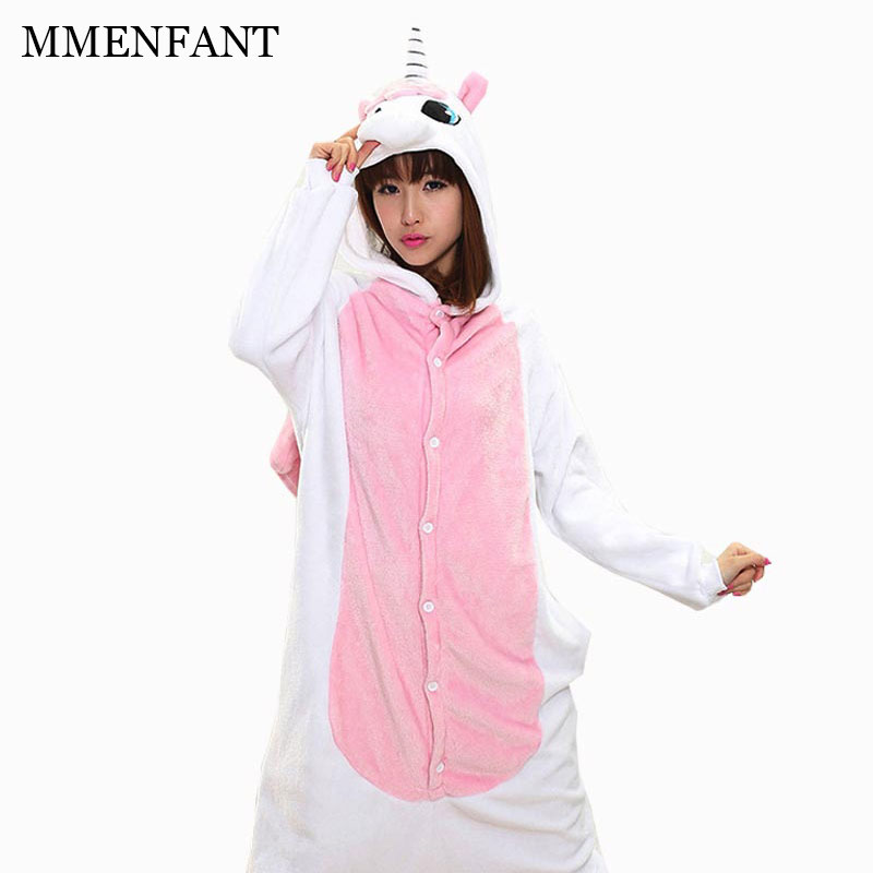 цена на 2017 Warm Winter Unisex boy girls Cartoon cute long-sleeved pajamas piece pink unicorn Kidgurumi Pajamas Anime Costume Sleepwear