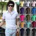 Летний стиль 2016 новое поступление мода мужская чистый цвет короткий рукав рубашки тонкой стильный мальчик социальный бизнес Camisa рубашка