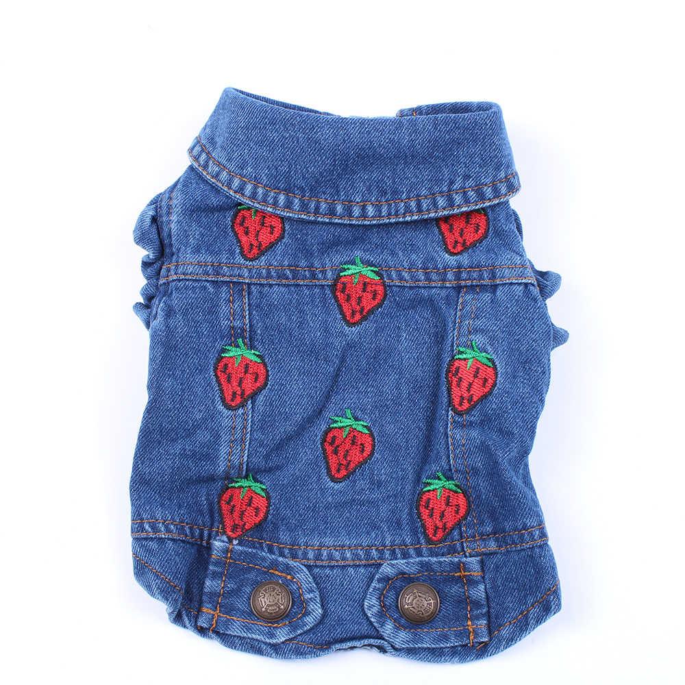 Jeans Anjing Jaket Strawberrys Biru Denim Mantel Rompi Anjing Peliharaan Pakaian Pakaian untuk Anjing Kucing Kecil Medium 6 Ukuran
