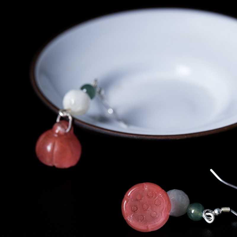 Luleur 925 pendientes de jade esmeralda de plata de ley carnalina sandía natural rojo Esmeralda jade pendientes de gota para las mujeres joyería
