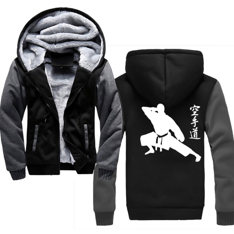 Japanese Karate Men 2019 New Brand Winter Thick Warm Fleece Zipper Coat for Mens SportWear Tracksuit Male Hoodies-in Hoodies & Sweatshirts from Men's Clothing    1
