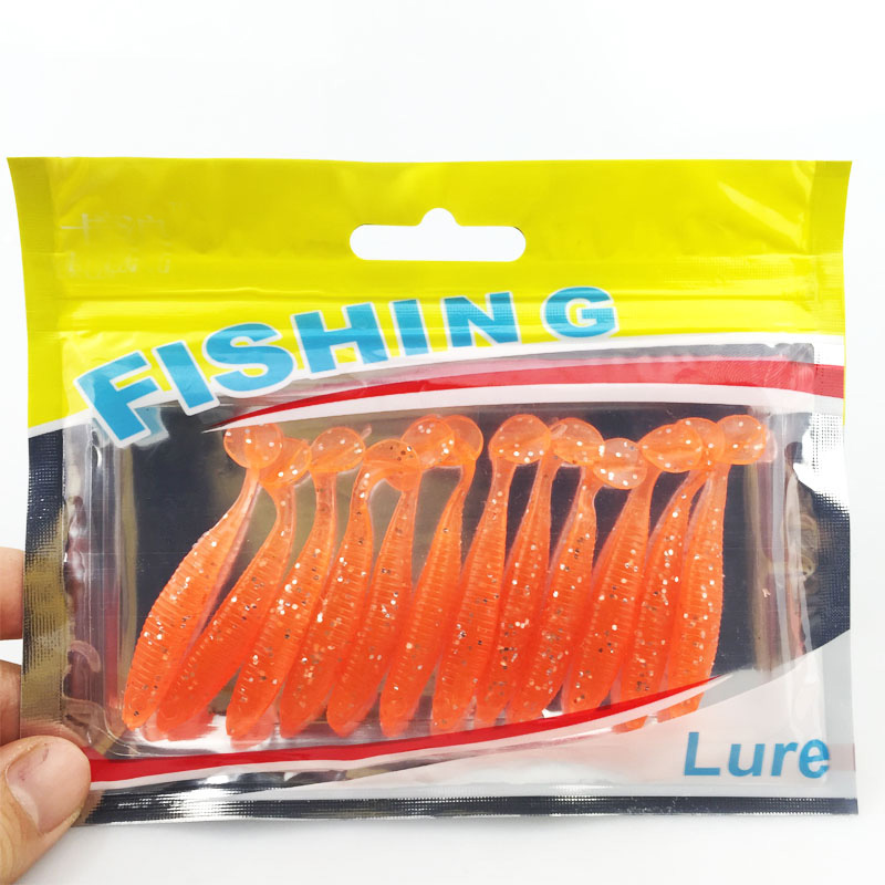 12pcs/lot T Tail Soft Grub Glow 50mm/1g fishing lure soft Abdomen open hook Paddle Tail Soft Lure Bass Fishing bait