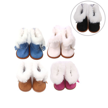 цена на 18 inch Girls doll shoes Winter plush ankle boots American new born accessories Baby toys fit 43 cm baby s151