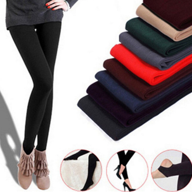 Plush Trousers Velvet Nine Cent Trousers Wool 9 Cents Woolen Trousers Bottom Casual Warm Faux Velvet Winter   Leggings