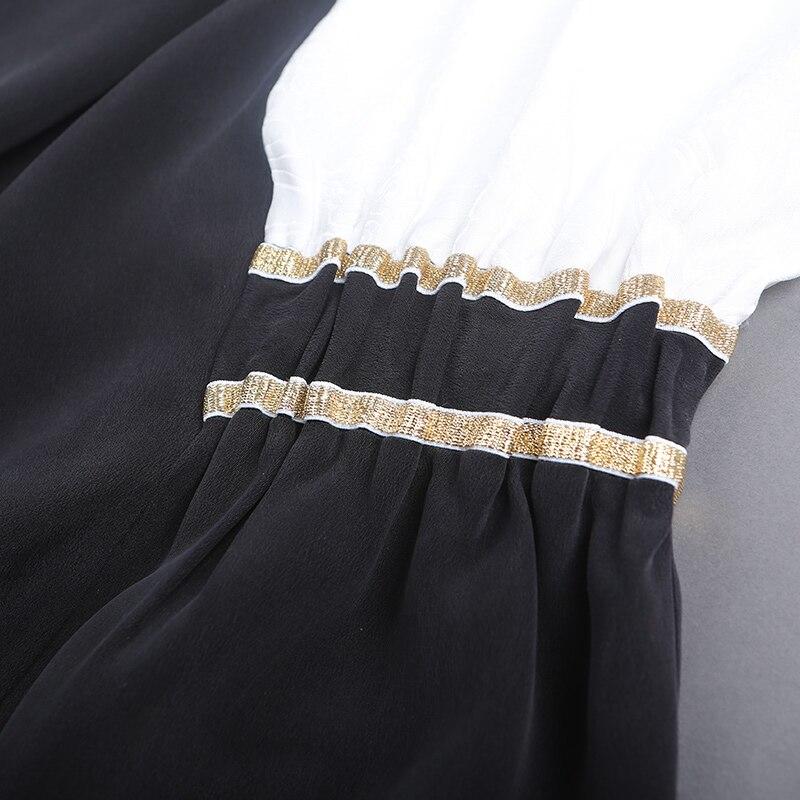 A7336 Robe Robes Grande De Noir Automne Taille Femmes Décontracté Vêtements Longues Musulman Sexy V Maxi Lourde Voa Irrégulière Soie 2018 Cou ZRqXF