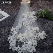 JIERUIZE In Stock Lace Edge 1.5 M Long Wedding Veils High Quality Cheap Bridal Veils Wedding Accessories