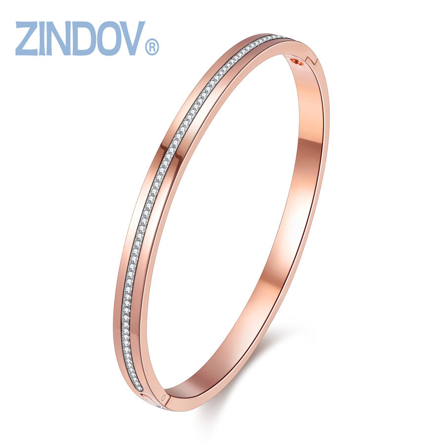 New Hot Fashion Jewelry Women Bangles Bracelets Stainless Steel Gold Rose Gold Silver Color WristBand Top Crystal Bangles Women