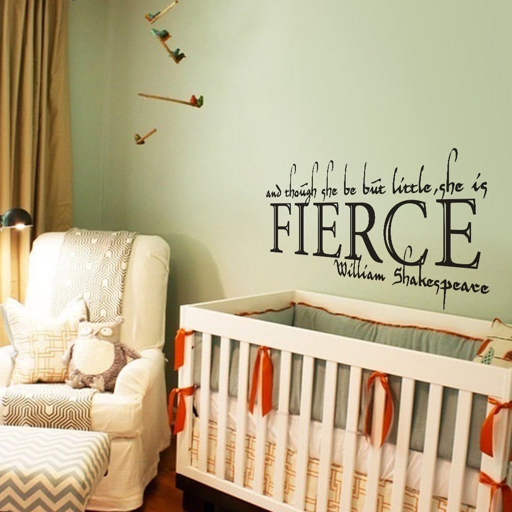 compare prices on quotes babies online shopping buy low price and though she be but little she is fierce shakespeare quote baby nursery girls room