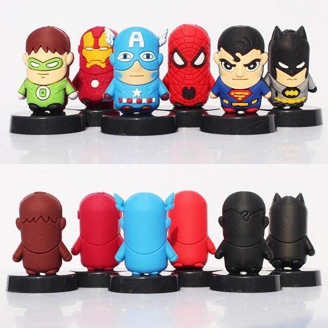 6 Шт./компл. SuperHero Мстители человек-Паук Super Man Железный Человек Бэтмен Капитан Америка Человек-Паук Рисунок Куклы Игрушки С Базы