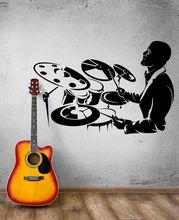 Decalcomanie della parete di musica batterista jazz rock tamburo bastone bar discoteca del vinile sticker poster camera da letto a casa di arte di disegno della decorazione 2YY23