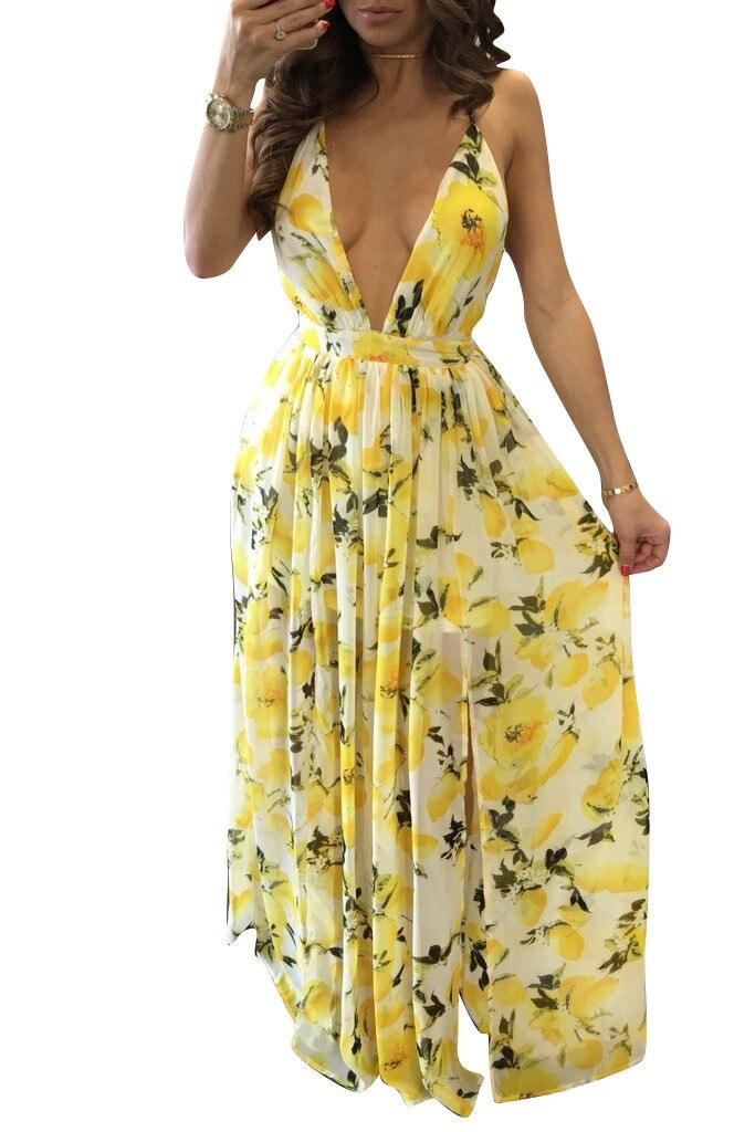 New Summer Lemon Pattern Printed Dress Hot Sexy Deep V