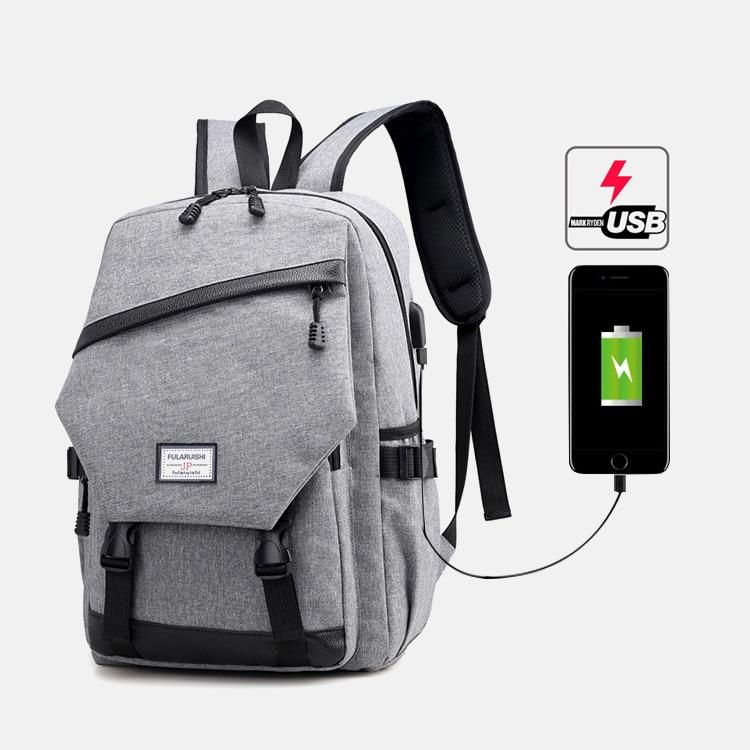 30PCS/LOT Canvas Backpack USB Charge Travel Laptop Backpack Business Backpacks Shoulder Backpacks Large Capacity Rucksack