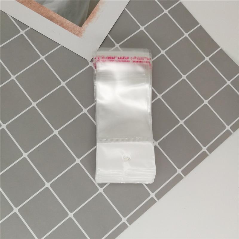100pcs Clear Plastic Bags Self-Stick Transparent Bag Pouches Bracelets Earring Necklace Jewelry Package Box5/9cm