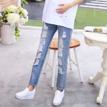 Fashion Summer Maternity Jeans Pregnancy Clothes Loose Denim Pants for Pregnant Women High Waist Ripped Jeans Trousers