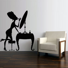 Make up Girl Wall Decal Mirror Chair Sexy Woman Vinyl Stickers Removable Beauty Salon Cosmetic Graphics Home Decor SYY525