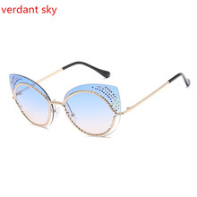 2017 New Cat's-eye Diamond Fashion light Sunglasses Women Designer High Quality Vintage Retro Glasses Fashion Girls Original box