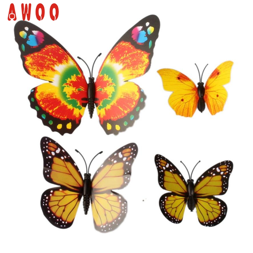 12 unids 3D Pegatinas de Pared de La Mariposa Imán del refrigerador de La Boda D