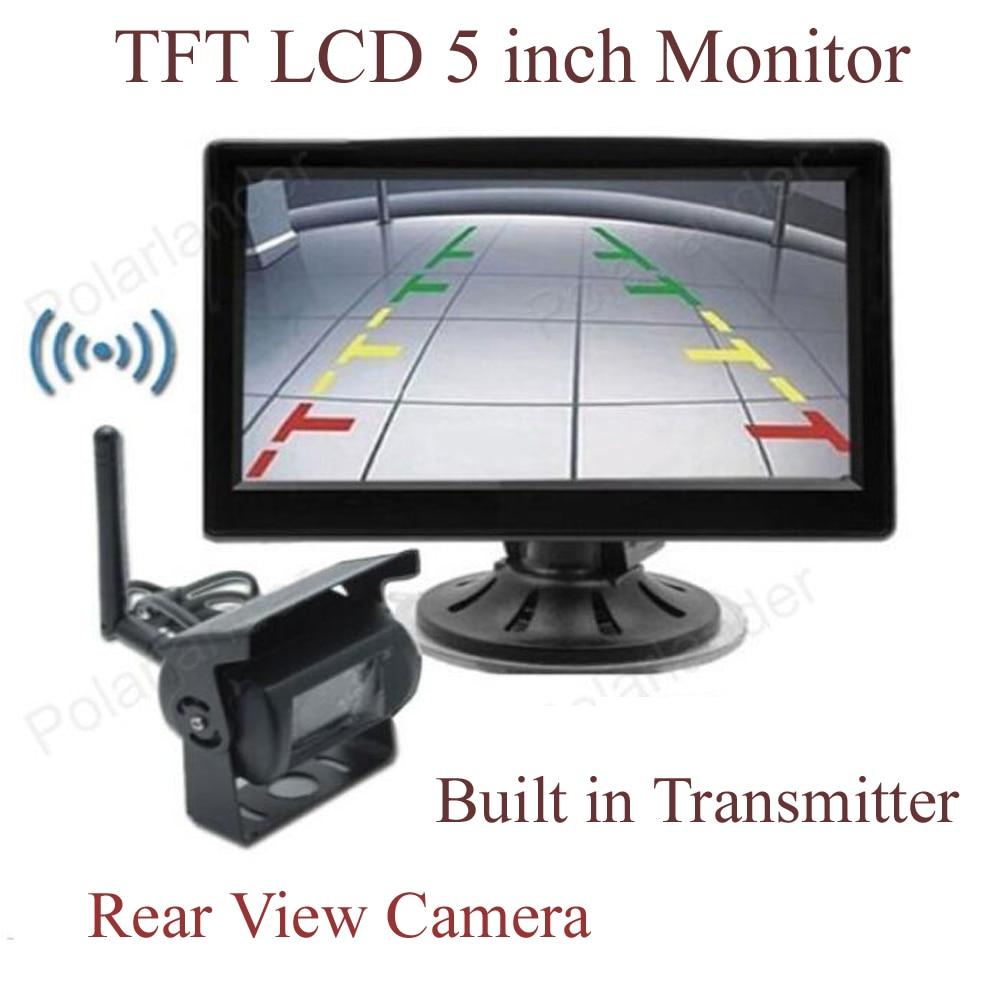 TFT 液晶ワイヤレス 5 インチモニター用車のリアビュー駐車場キット販売 2CH ビデオ入力内蔵トランスミッタ 2 24 ボルト車のトラック  グループ上の 自動車 &バイク からの 車両カメラ の中 1