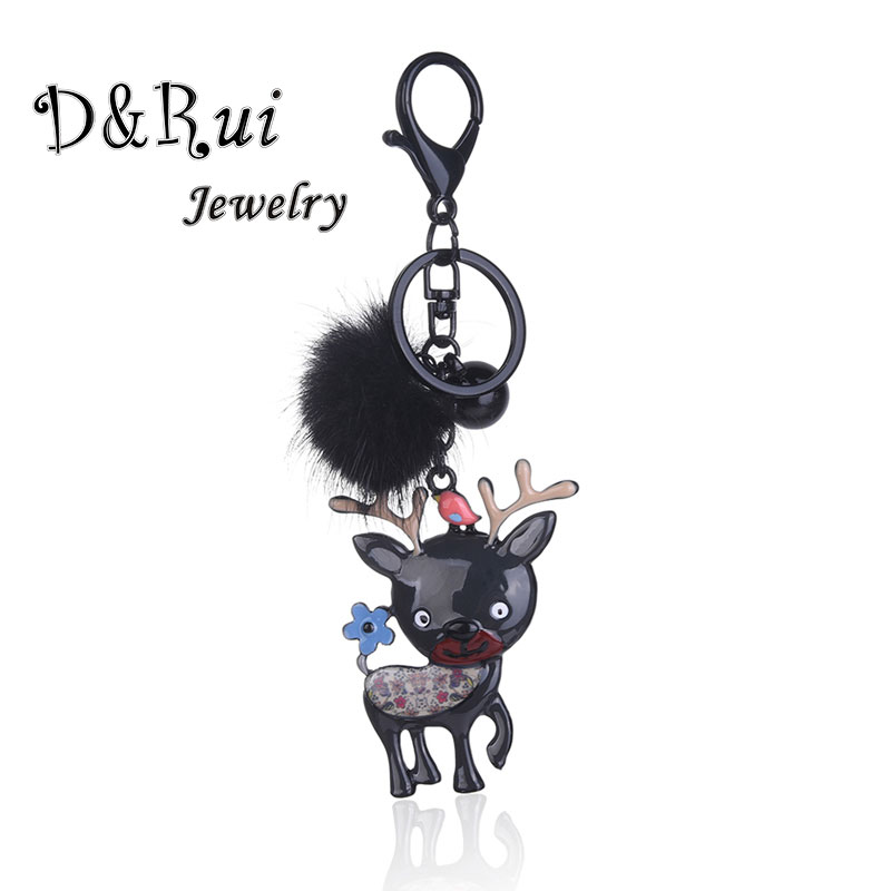 Christmas Deer Key Chains On Keys Trendy Enamel Animal Wallet Car Keychains Gifts For Men And Women Key Ring Pendants Jewelry