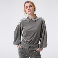 Womens Cotton Lantern Long Sleeve Velour Blouses 2017 Women Casual Peter Pan Collar Autumn Grey Color