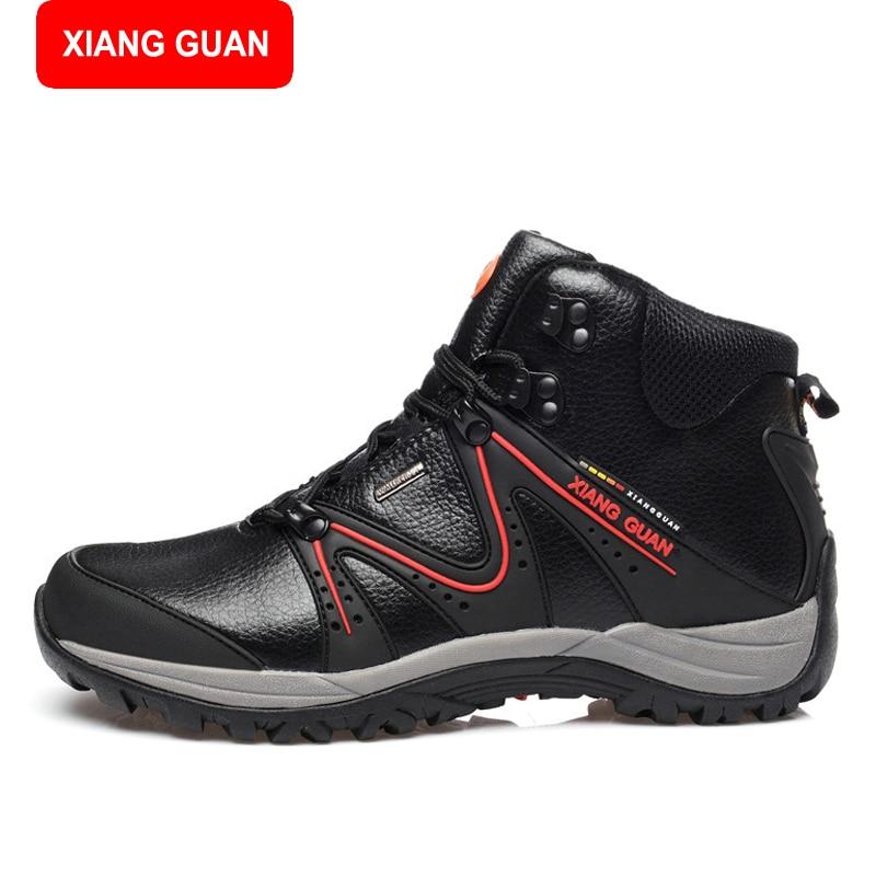 ФОТО XIANG GUAN Waterproof Outdoor Hiking Boots Warm Winter Shoes Men Outdoor Trekking Boots Genuine Leather Hiking Shoes 83309