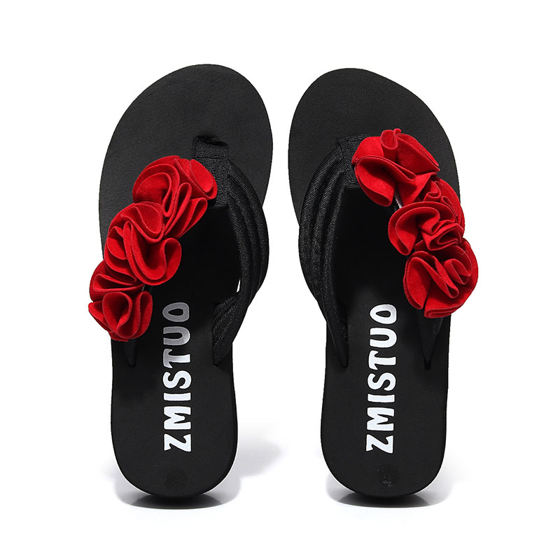 zapatos mujer 2018 Women Summer Beach Bohemia Shoes Woman Flower Platform Flip Flops Ladies Black Wedges Heels Slippers Pantufa women summer slippers striped pattern indoor outdoor beach flip flops shoes women ladies wedges platform flip flops zapatos