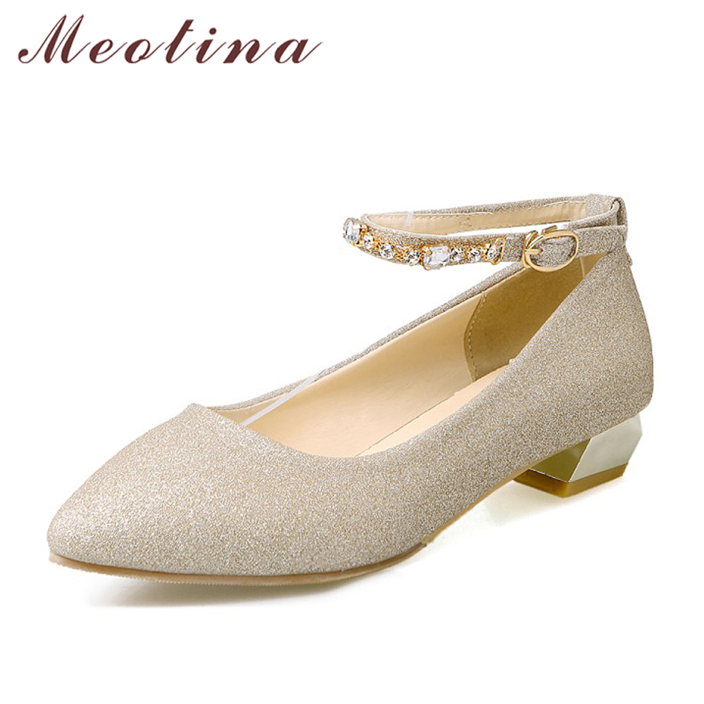 где купить Meotina Shoes Women Ankle Strap Low Heels Glitter Pointed Toe Party Shoes Rhinestones Ladies Pumps Big size 33-43 Zapatos Mujer по лучшей цене