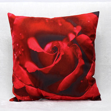 Wholesale 3D Printing Rose Red Hot Short Plush Custom Pillows Cojines Decorativos Decorative Throw Pillow font