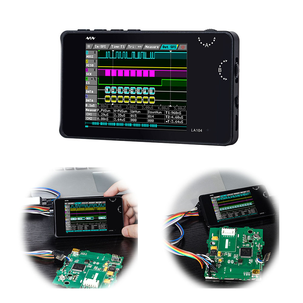 "O118 Mini DSO LA104 Digital Logic Analyzer 2.8"" 4 Channels Oscilloscope SPI IIC UART Programmable 100MHz Max Sampling Rate"
