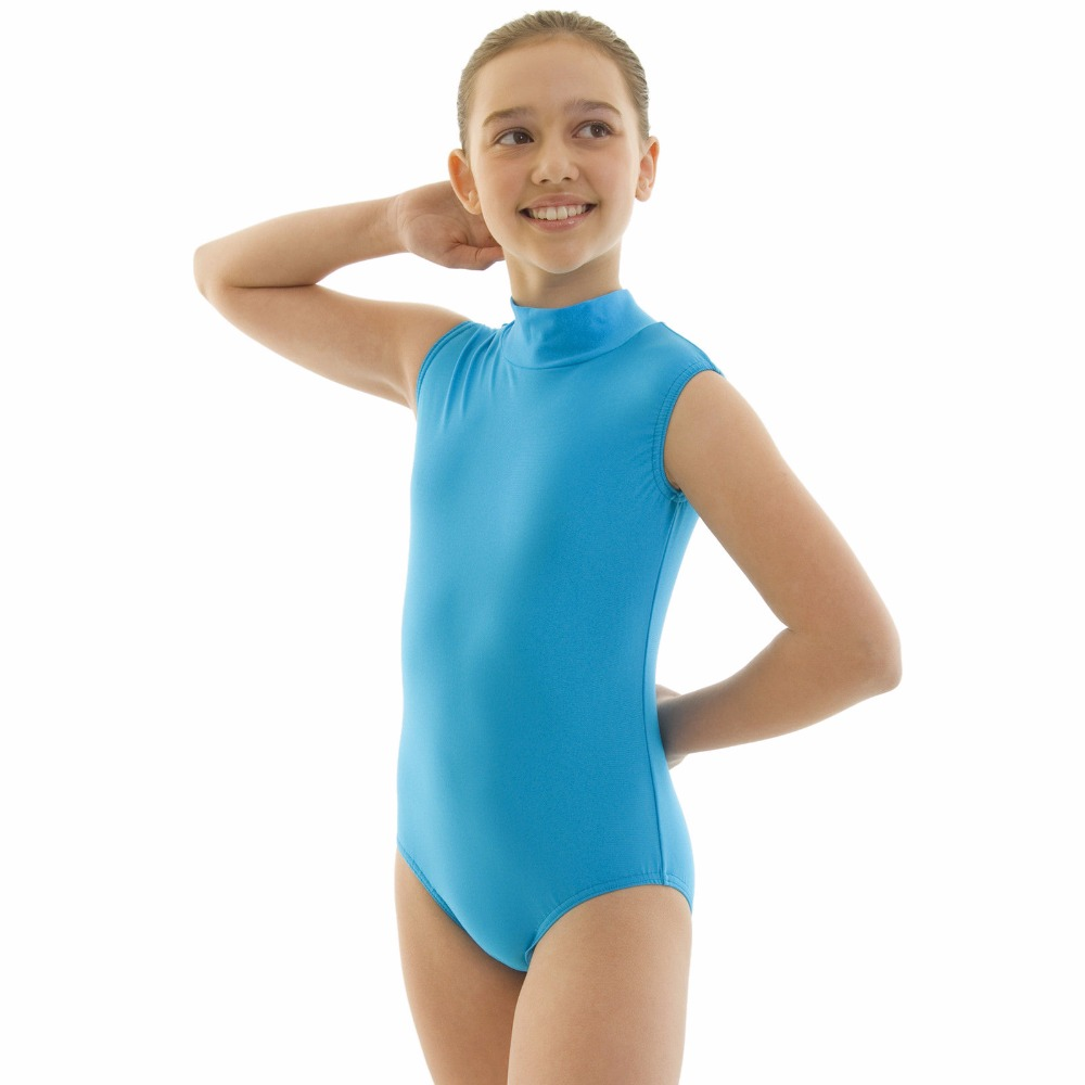 Children Nylon Lycra Dance Gear Polo Neck Sleeveless Girls Dance Leotard Keyhole Back Kids Dance Tops Toddler Dancewear