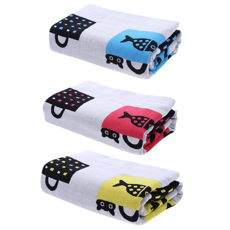 70x140cm Baby Bathing Towel Cotton Shopping Bag Printed Three-ply Encrypt Kids Swim Quilt Bathrobe Newborn Blanket Swaddle Towel