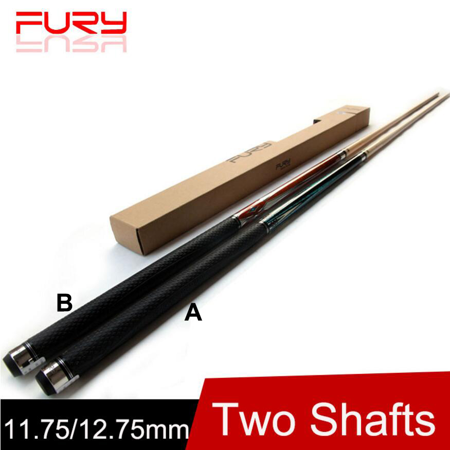 FURY Two Technology Shafts Billiard Pool Cue 12 75mm 11 75mm Tip Billiard Cue Stick Kit 10 Pieces Wood Technical Shafts 2019 in Snooker Billiard Cues from Sports Entertainment