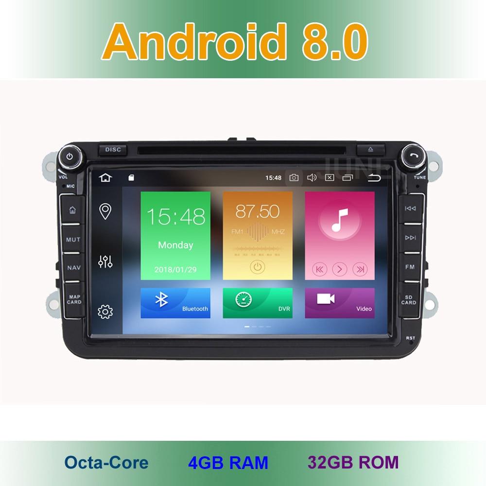 4 GB RAM Android 8.0 DVD de Voiture Radio Stéréo GPS pour VW Passat CC Golf 5 6 T5 EOS B5 B6 B7 Jetta Touran Tiguan Multivan