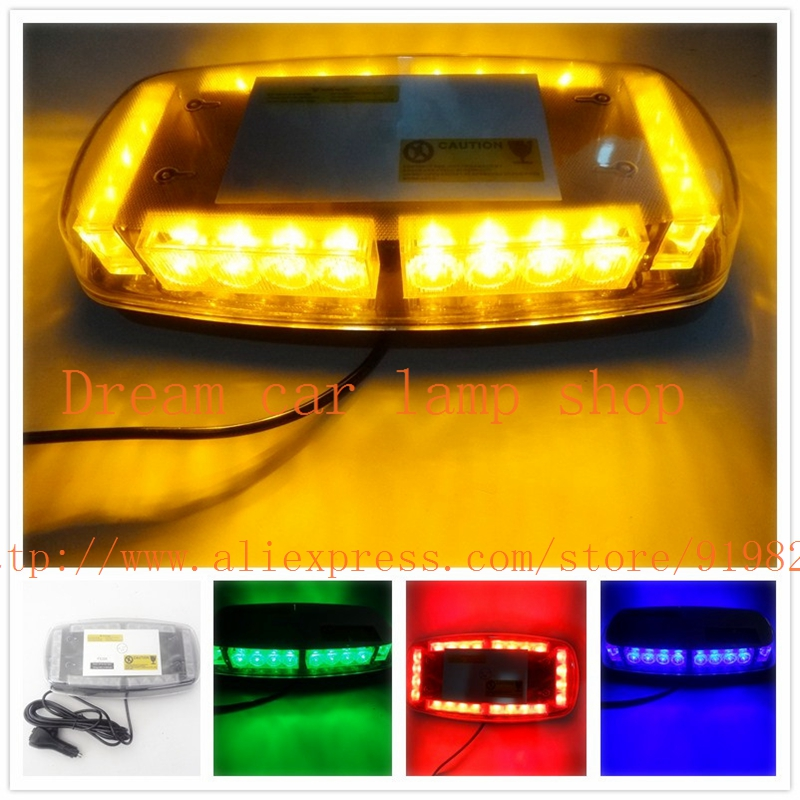 01004 high power 24 led 12 v mini  magnetic  warning lights led flash car dome light Automotive engineering lamp ,white,amber