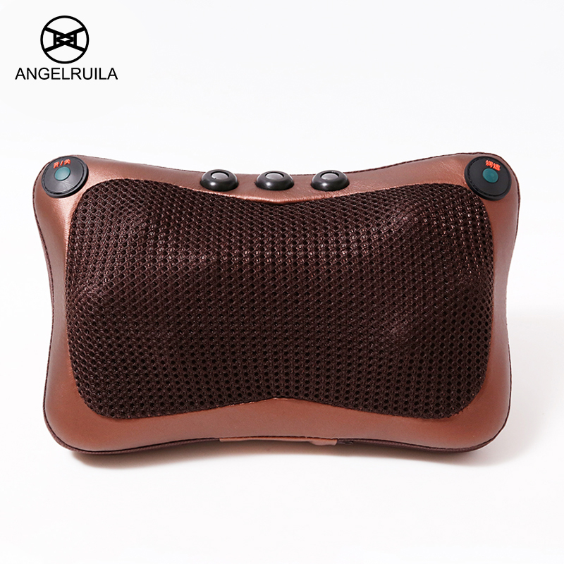 Angelruila Car Home Massage Pillow for neck Back Waist Body Electric Infrared Heating Shiatsu Massage Kneading multifunctional angelruila neck massager car home cervical shiatsu massage neck back waist body electric multifunctional massage pillow cushion