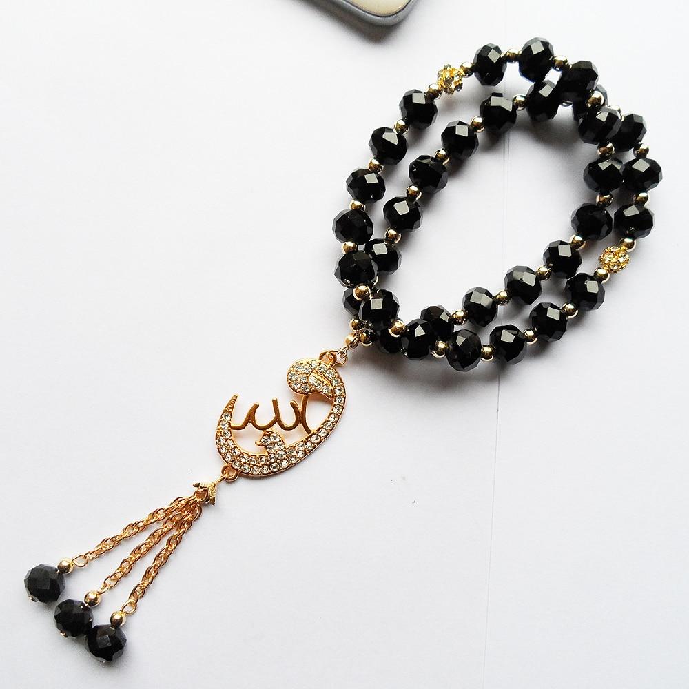 2019 New DIY Unisex Muslim Pendant Accessories Bracelet Jewelry,  OL Style 2R-Layer Black Crystal Beads Islam Bracelet Gift