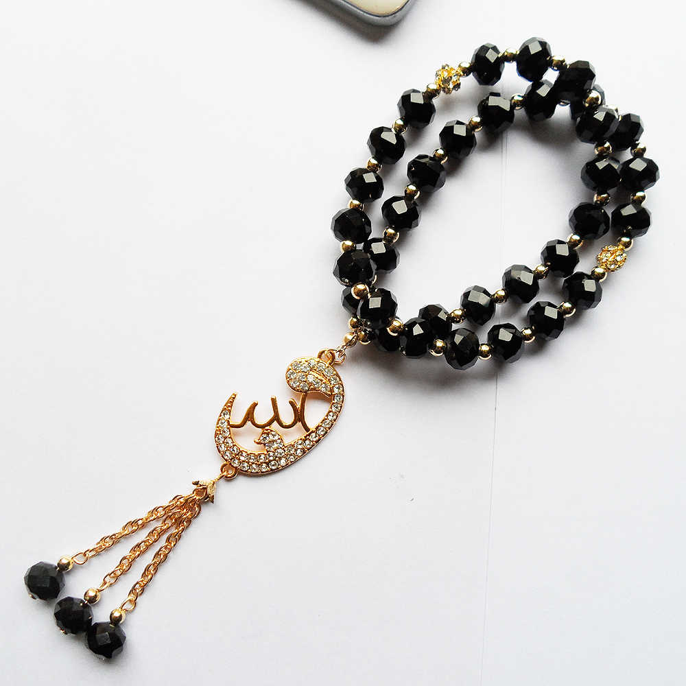2019 new DIY Unisex Muslim pendant accessories bracelet jewelry,  OL style 2R-Layer Black crystal beads Islam bracelet gift