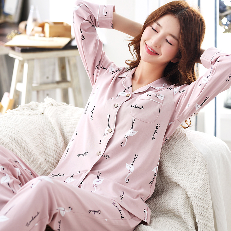 Pajamas     Sets   2018 Pink Long Sleeve Sleepwear Cartoon Nightwear Cotton Sleep Lounge Women Clothing Casual Homewear 2pcs/  set   M-3XL