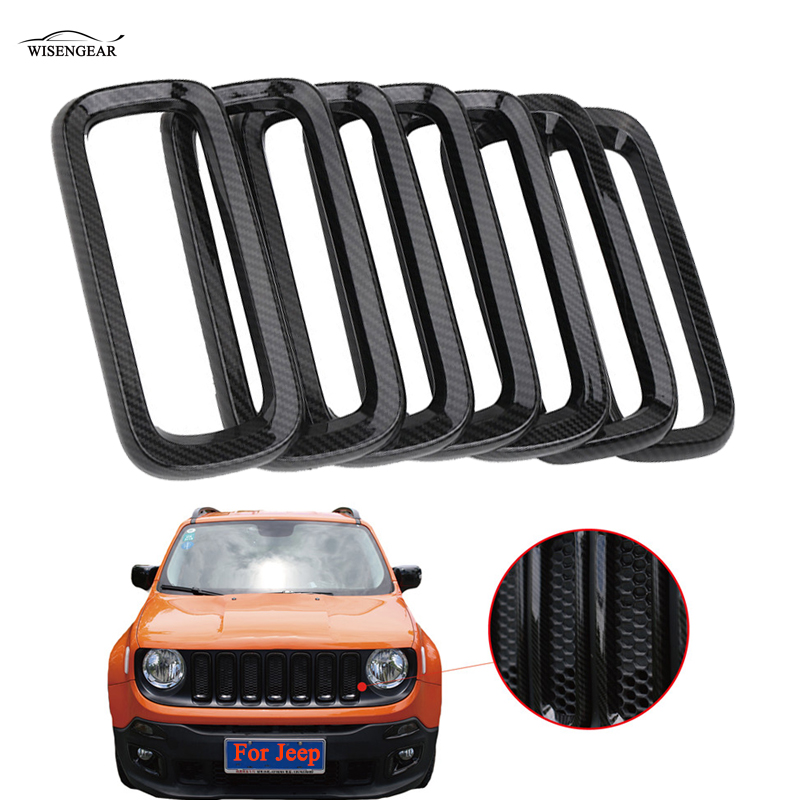 WISENGEAR 7PCS Front Grille Grill Trim Cover Carbon Black Frame Guard For Jeep Renegade 2015 2016 2017 Bumper Racing Grill / 10th front bumper grill abs material middle grille racing grills type r grill mesh case for honda civici 2016 2017