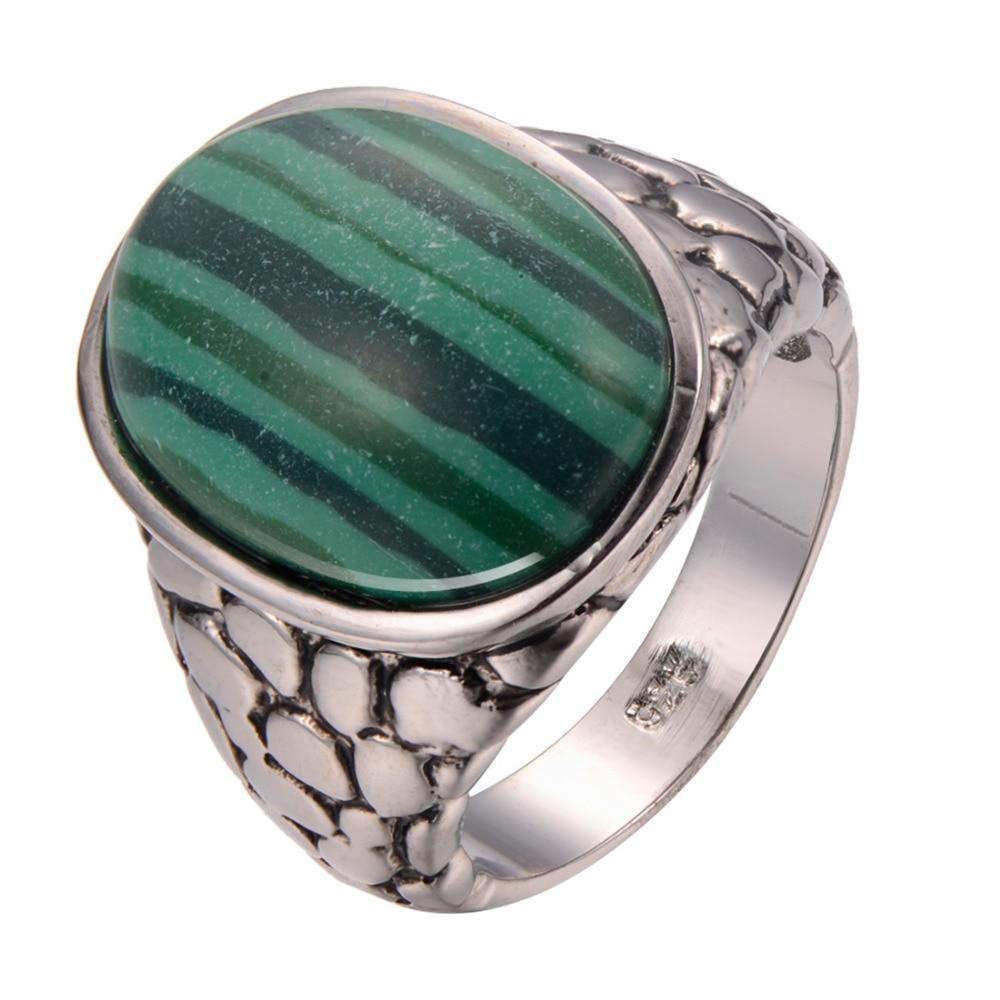 Malachite 925 Sterling Silver Ring Fashion Ring Size 6 7 8 9 10