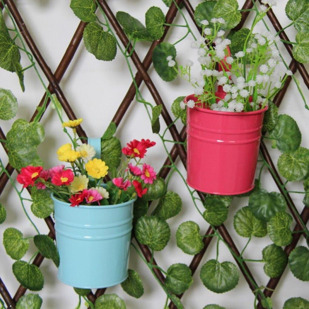 New Unique Hanging Flowerpot Vase Wrought Iron Flower Barrel Balcony Pots Planters Wall Hanging Bucket Pastoral Flower Holder