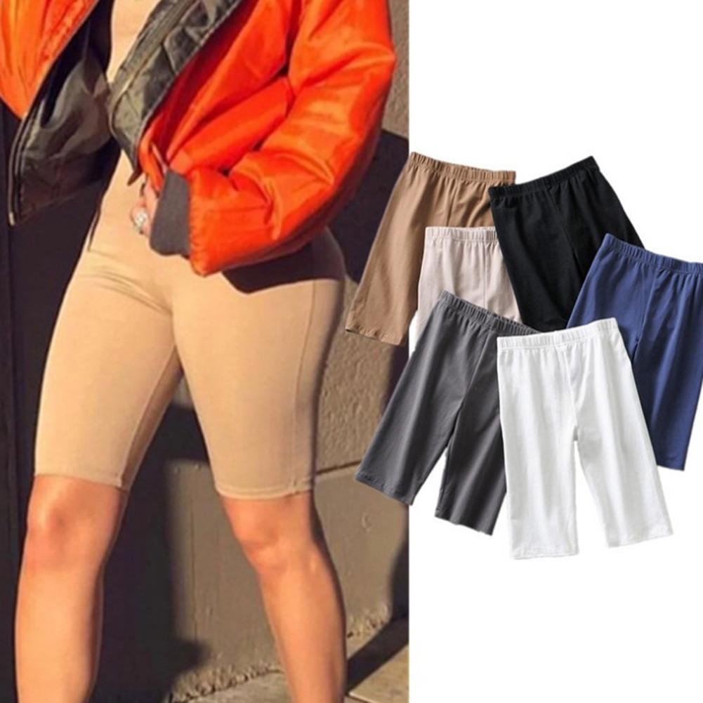 Summer Biker Shorts 2019 High Waist Shorts Women Elastic Waist Skinny Fitness Korean Casual Sexy Short Slim Fit Black Shorts