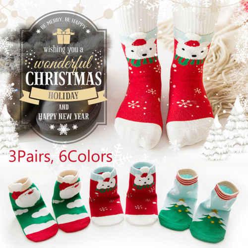 2018 рождественские детские носки из 3 предметов хлопковые зимние теплые