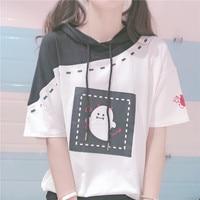Gothic Style Cute Demon Pattern Mori Girl Japanese Lolita Girls Hooded Short Sleeve T shirt Harajuku Summer Students Kawaii TEE