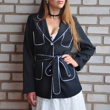 2017 New Slim Jacket All Match Korean Waistline Band Belt Elegant Leisure Office Lady Suit