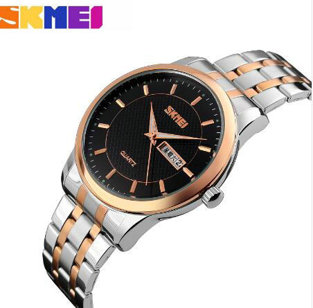 SKMEI Top Luxury Brand Wrist Watches for Men Stainless Steel Strap Calendar Date Business Casual Quartz Watch Relogio Masculino longbo men and women stainless steel watches luxury brand quartz wrist watches date business lover couple 30m waterproof watches
